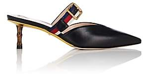Gucci Women's Buckle-Strap Leather Mules - Black
