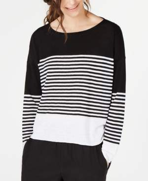 Eileen Fisher Organic Cotton/Linen Striped Sweater