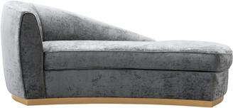 TOV Adele Slub Grey Velvet Chaise