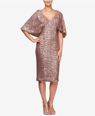Alex Evenings Petite Allover Sequin Cape Dress