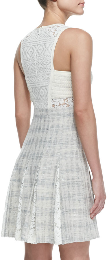 Rebecca Taylor Tweed/Lace Sleeveless A-Line Dress