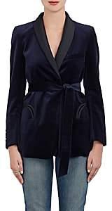 BLAZÉ MILANO Women's Silk-Trimmed Velvet Tie-Waist Blazer - Navy