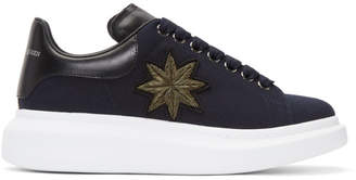 Alexander McQueen Navy Embroidered Oversized Sneakers
