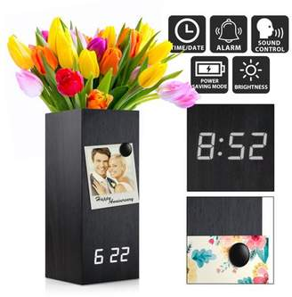 Oct17 Wooden Alarm Clock Vase, Modern Wood Digital Alarm Clock, Voice Control Electric Smart LED Alarm Clock with Flower Plant Vase for Bedroom Office Home - Black with White Light
