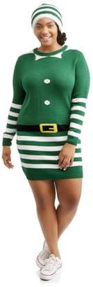 POOF Juniors' Plus Striped Xmas Elf Sweater Dress with Matching Hat