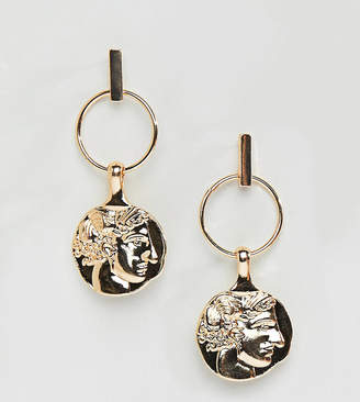 Reclaimed Vintage Inspired Gold Coin Earrings