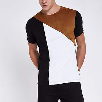 River Island Black faux suede panel muscle fit T-shirt