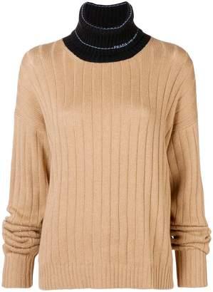 Prada contrast neck jumper