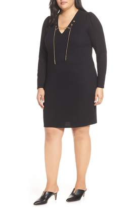 MICHAEL Michael Kors Chain Lace-Up V-Neck Sweater Dress