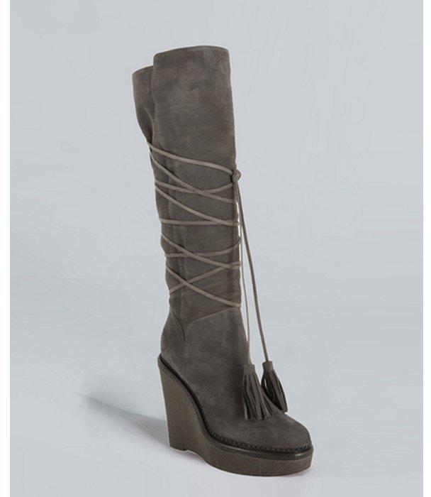 Yves Saint Laurent medium grey suede 'Yda 90' wedge tall boots