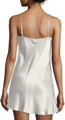 Christine Designs Bijoux Lace-Detail Silk Satin Chemise