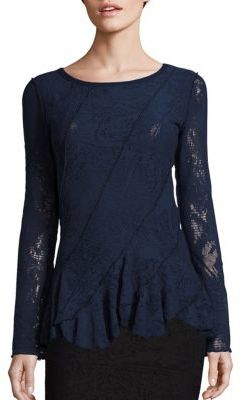Fuzzi Lace Peplum Top $380 thestylecure.com