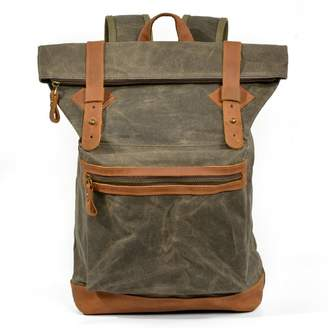 EAZO - Fold Top Zip Front Waxed Canvas Backpack In Green
