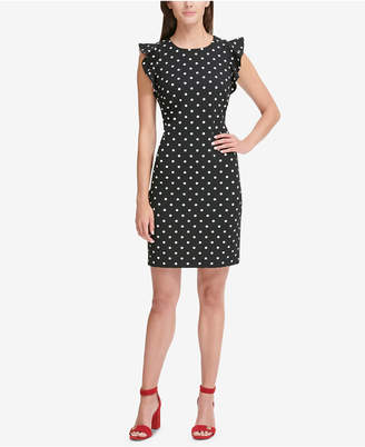 Tommy Hilfiger Dot-Print Flutter-Sleeve Sheath Dress