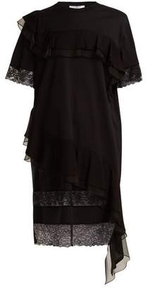 Givenchy Asymmetric Ruffled Trimmed Cotton Jersey Dress - Womens - Black