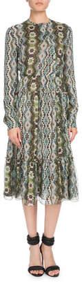 Altuzarra Agadir Asymmetric-Button Long-Sleeve Kilim-Print Silk Dress