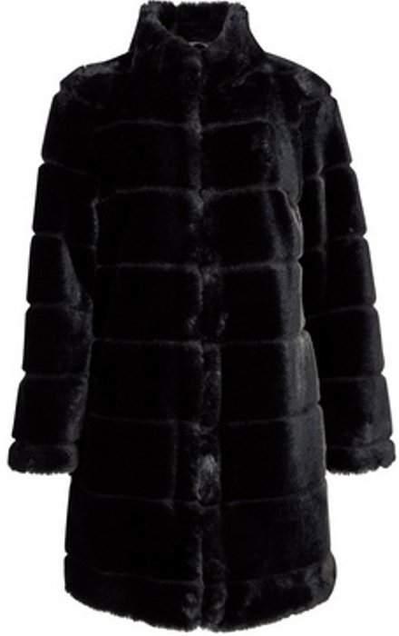 Womens Petite Black Carved Longline Faux Fur Coat