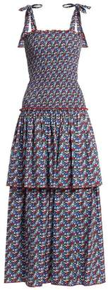Gül Hürgel Floral Print Smocked Cotton Dress - Womens - Blue Print