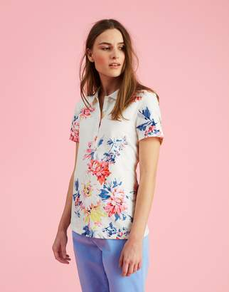 Joules Clothing Cream Whitstable Floral Pippa print Printed Polo Shirt