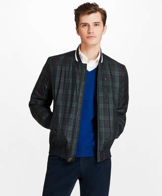 Brooks Brothers Black Watch Plaid Bomber Jacket