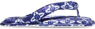 Pedro Garcia Raquel Allegra Kaname Printed Satin Flip Flops - Blue