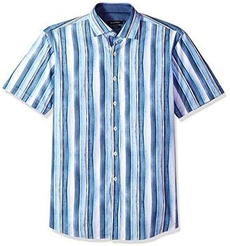 Bugatchi Men's Fitted Short Sleeve Brush Strokes Design Woven Shirt