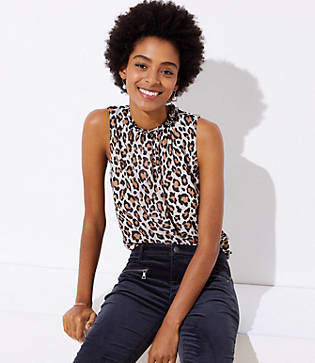 LOFT Petite Leopard Print Tie Back Shell