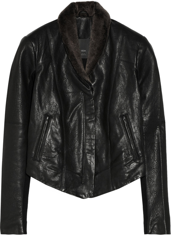 Veda Dom faux shearling-trimmed leather jacket