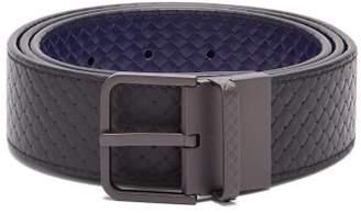 Bottega Veneta Reversible Intrecciato Woven Belt - Mens - Black Blue