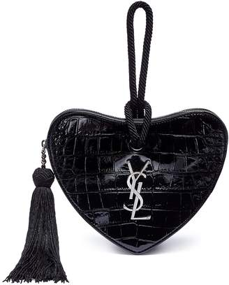 Saint Laurent 'Monogram Heart' croc embossed leather wristlet