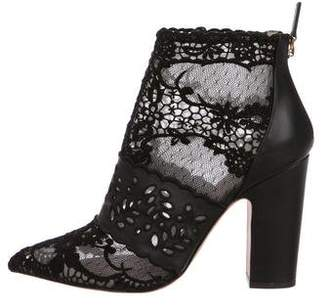 Valentino Lace Pointed-Toe Booties