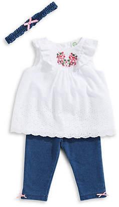 Little Me Little Girl's Eyelet Cotton Tunic, Leggings and Headband Set
