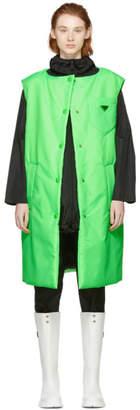 Prada Green Logo Long Padded Vest
