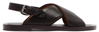 Christian Louboutin Elba Lizard Effect Leather Sandals - Mens - Brown