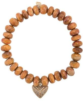 Sydney Evan 14kt gold diamond heart charm tiger eye beaded bracelet