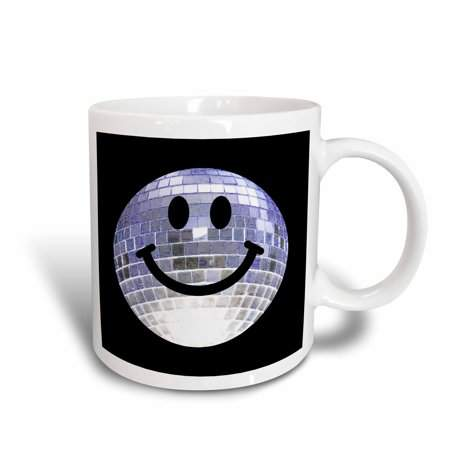 3dRose Silver Disco Ball Smiley Face - seventies 70s style Discoball Dance hall diva smilie on black, Ceramic Mug, 11-ounce