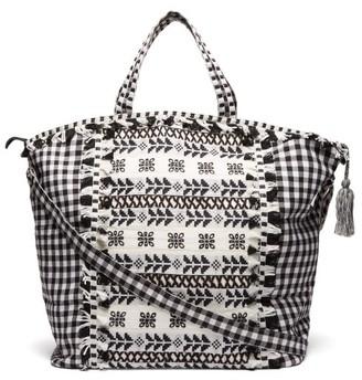 Dodo Bar Or Oana Gingham Jacquard Cotton Beach Bag - Womens - Black Multi