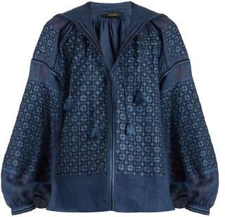 Vita Kin - Strawberry Field Mid Weight Linen Blouse - Womens - Blue
