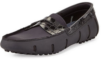 Swims Rubber Penny Loafer with Faux-Croc Trim $179 thestylecure.com