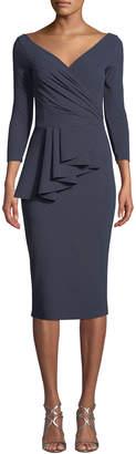 Chiara Boni Ariane Pinstripe Peplum Wrap Dress