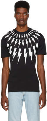 Neil Barrett Black Multi Lightning Bolt Logo T-Shirt