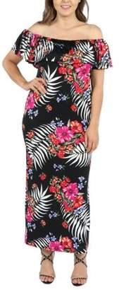 24/7 Comfort Apparel 24Seven Comfort Apparel Gillian Red and Black Plus Size Maxi Dress