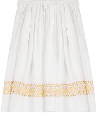 Vanessa Bruno Silk Skirt with Eyelet Embroidery