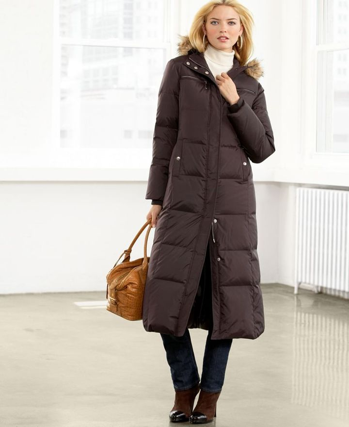 MICHAEL Michael Kors Coat, Hooded Long Down