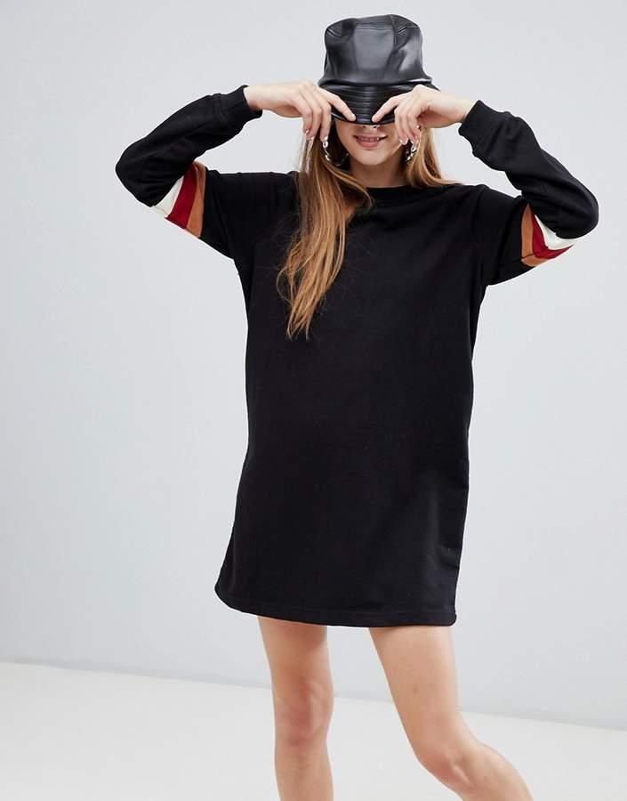 stripe sleeve sweat dress