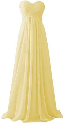 Dressyu Bridal Women's Sweetheart Chiffon Long Bridesmaid Dress Evening Gowns USW