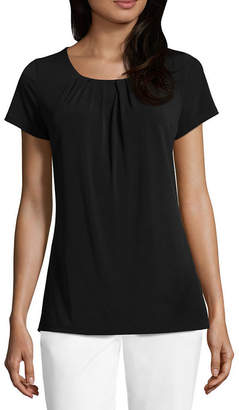 Liz Claiborne Short Sleeve Pleat Neck Tee - Tall