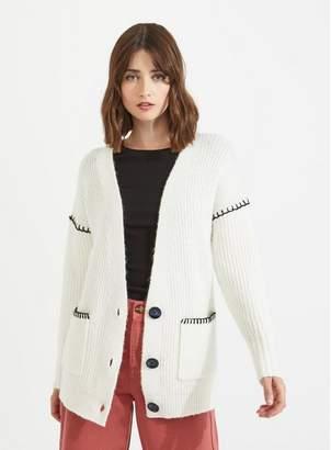 ba6cce3fb50 Miss Selfridge Cream blanket stitch knitted cardigan