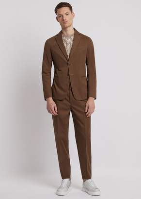 Emporio Armani Single-Breasted, Modern-Fit Suit In Cotton