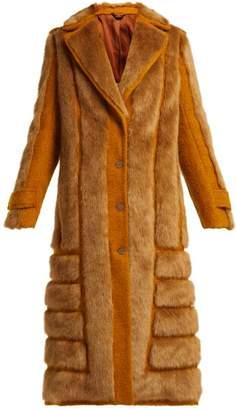Acne Studios Faux Fur Trimmed Jute Blend Coat - Womens - Yellow